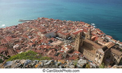 Panoramic bird's-eye view of the central part of the Cefalu...