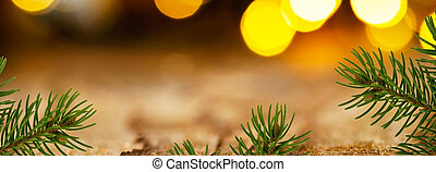 Panoramic Christmas background with detail of Christmas...