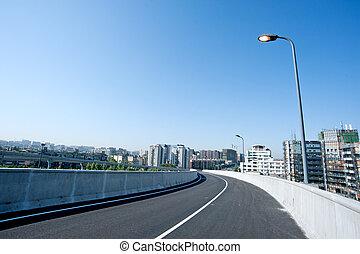 Panoramic city overpass