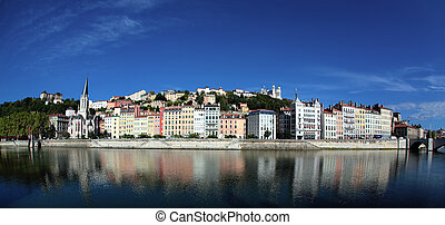 panoramic city - Panoramic view of Lyon and Saone River in ...