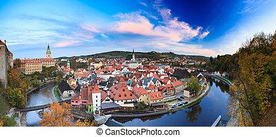 Panorama cityscape Cesky Krumlov, Czech republic. Autumn evening. UNESCO World Heritage Site