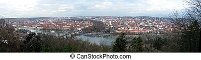 Panoramic cityscape of the Franconia city Wuerzburg in Bavaria Germany