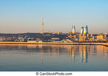 Panoramic cityscape view of Baku in the morning