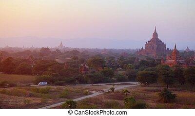 """""""Panoramic Clip of Bagan Myanmar, an Ancient Burmese City"""" -..."""