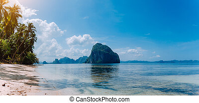 Panoramic coastline landscape of El Nido. Sandy Beach with Huge Rock in ocean and high palm trees, Palawan island. Philippines