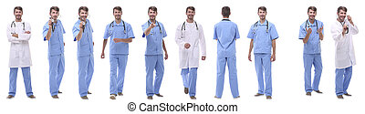 panoramic collage group of medical doctors . isolated on white