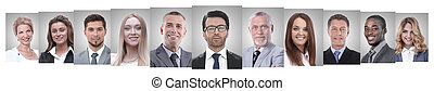 panoramic collage of portraits of successful business people