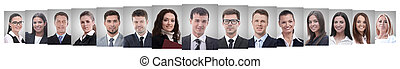 panoramic collage of portraits of successful employees