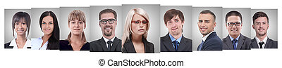 panoramic collage of portraits of young entrepreneurs.
