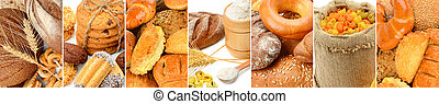 Panoramic collage set of bread products.
