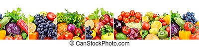Panoramic collection fresh fruits and vegetables isolated on white background.