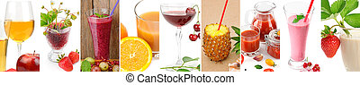 Panoramic collection fresh juice from fruit and vegetables in the glass isolated on white background.