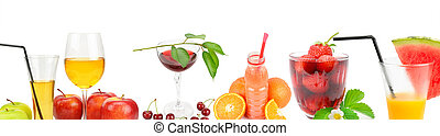 fresh juice from fruit in the glass isolated on white background. Collage. Wide photo.