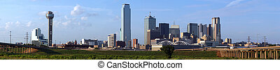 A panoramic shot of buildings in the Dallas Texas Skyline.