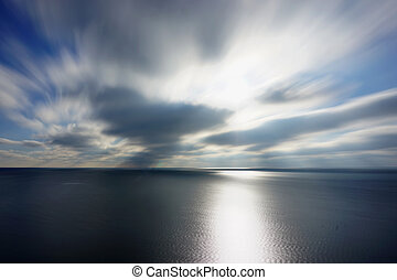 Panoramic dramatic blue sky and tropical sea at dusk