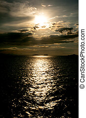 Panoramic dramatic sunset sky and tropical sea at dusk