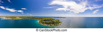 Panoramic drone picture of typical Croatian shore landscape taken near Rovinj