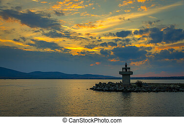 evening view of lighthouse at sunset - panoramic evening...