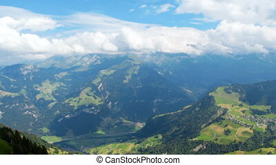 Panoramic footage of beatiful mountains in Switzerland at...