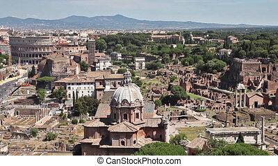 panoramic Forum of Rome - panoramic of Roman Forum, in Rome,...