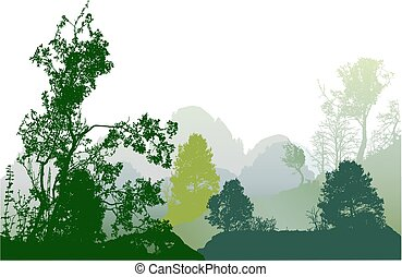 Panoramic green forest landscape with silhouettes of trees and mountains