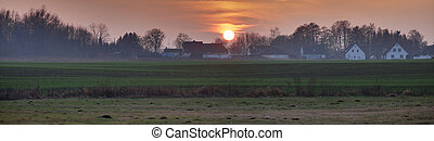Panoramic HDR image of sunset near Greifswald, Germany