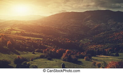 Panoramic highland countryside scenery aerial view -...