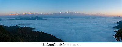 Panoramic Himalayas Sea Of Clouds Morning Sunrise