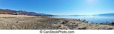 panoramic image of a lake prespa in macedonia - lake scenic ...