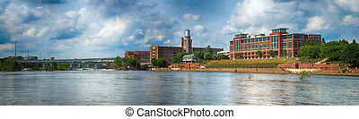 Panoramic image of buildings in downtown Columbus, Georgia, along riverwalk