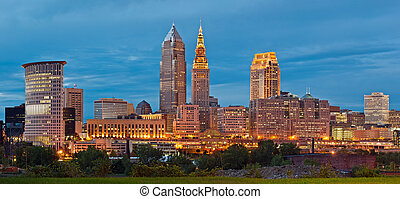 Panoramic image of Cleveland downtown at twilight blue hour.