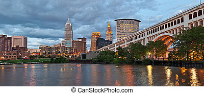 Panoramic image of Cleveland downtown during sunset.