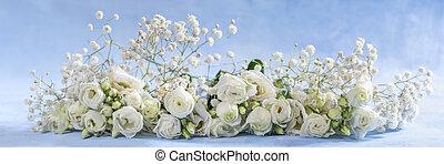 Panoramic image of flowers. Rose, Gerbera, Astra