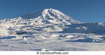 Panoramic image of Mount Ararat in winter - Mount Ararat...