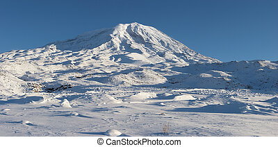 Mount Ararat, Agri Dagi, in winter. Panorama from abandoned Elikoy village, 2250m. Mount Ararat is an inactive volcano located near Iranian and Armenian borders and the tallest peak in Turkey.
