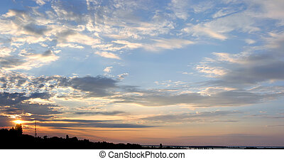 panoramic image of the colorful sky at sunset