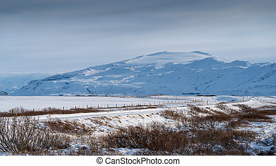 Eyjafjallajoekull, winter in Iceland