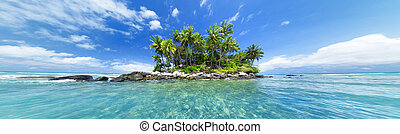 Panoramic image of tropical island. Web site or blog photo...