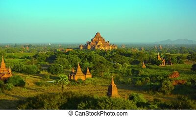 Panoramic Landscape of Ancient Stone Temples in Bagan,...