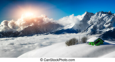 Panoramic landscape of hermitage isolated in the snow