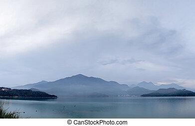 Panoramic landscape of lake