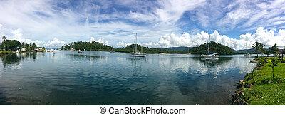 Panoramic Landscape of Nakama Creek Savusavu Fiji