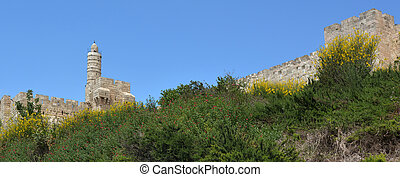 Panoramic landscape of the Tower of David and the old city of Jerusalem walls in Jerusalem, Israel.