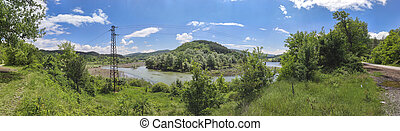 Panoramic  landscape of Topolnitsa Reservoir, Sredna Gora Mountain, Bulgaria