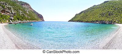 panoramic landscape of Vlychada beach Lakonia Peloponnese Greece