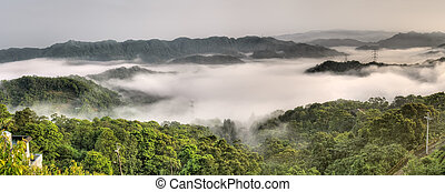 Panoramic landscape of countryside with power tower in mist...
