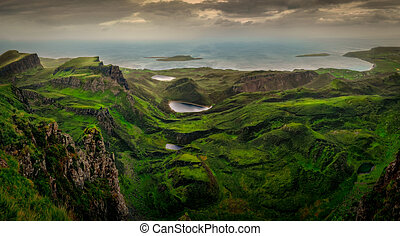 Panoramic landscape view of Quiraing coastline in Scottish highlands, Scotland, UK