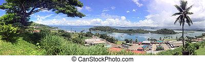 Panoramic landscape view of Savusavu Vanua Levu Fiji - ...