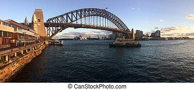 Panoramic landscape view of Sydney Harbour Bridge