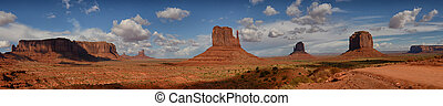 Panoramic landscape view of the famous Monument Valley mountains